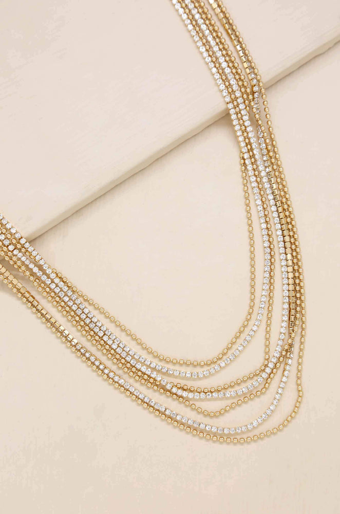 Perfect Strands Crystal and 18k Gold Plated Chain Necklace