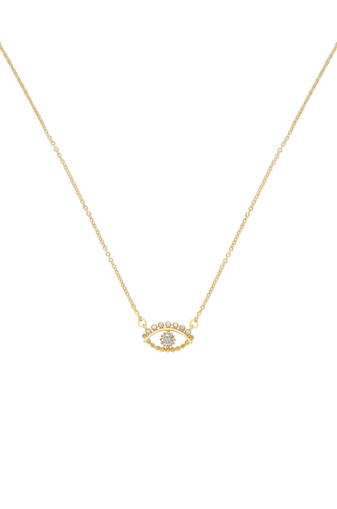 All Knowing Eye Crystal and 18k Gold Plated Necklace