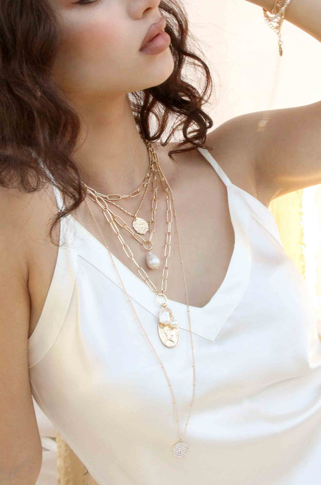 Single Pearl Open Links 18k Gold Plated Chain Necklace