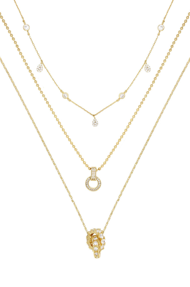 Dainty Crystal Trio 18k Gold Plated Necklace Set