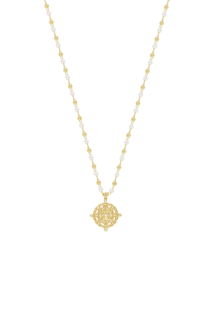 Long Travels Pearl & 18k Gold Plated Ball Chain Necklace