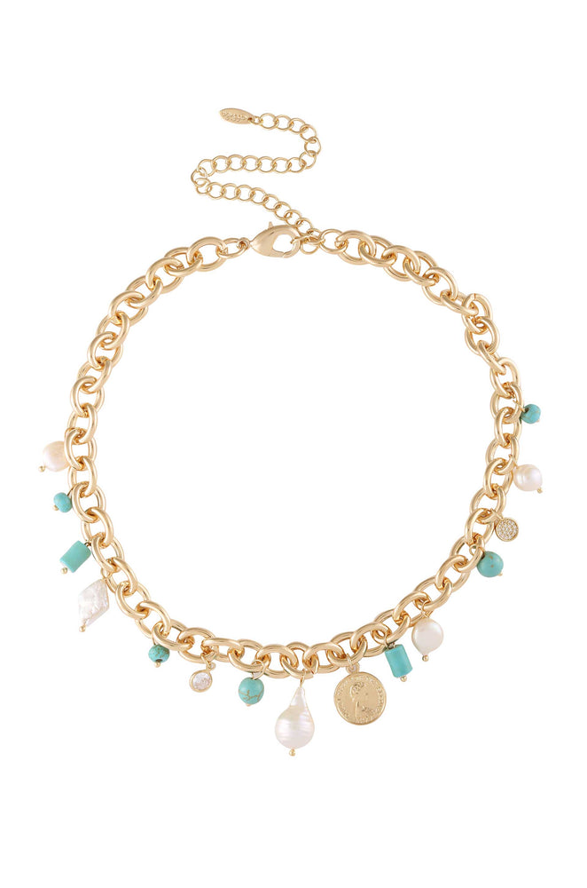 Maldives Turquoise, Pearl and Coin Charm 18k Gold Plated Necklace