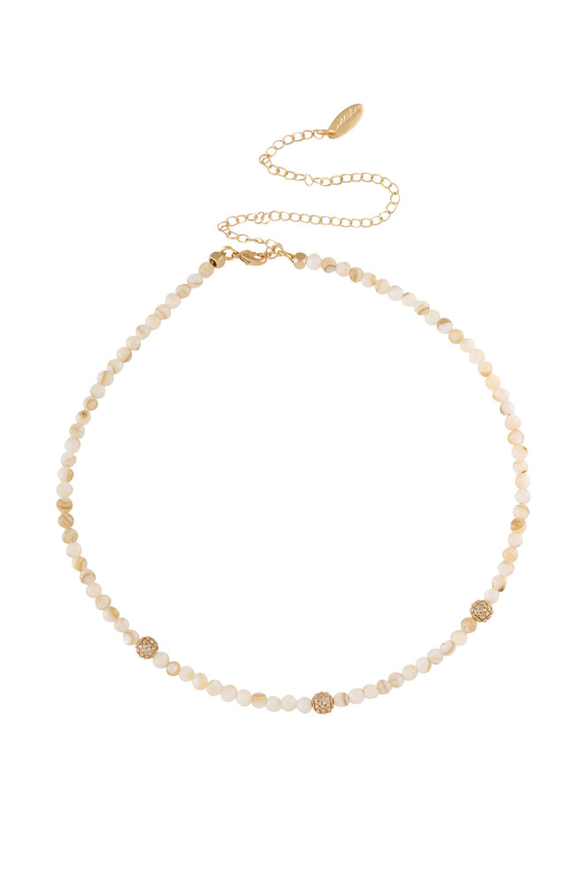 Shell Bead and Crystal Lariat 18k Gold Plated Necklace Set