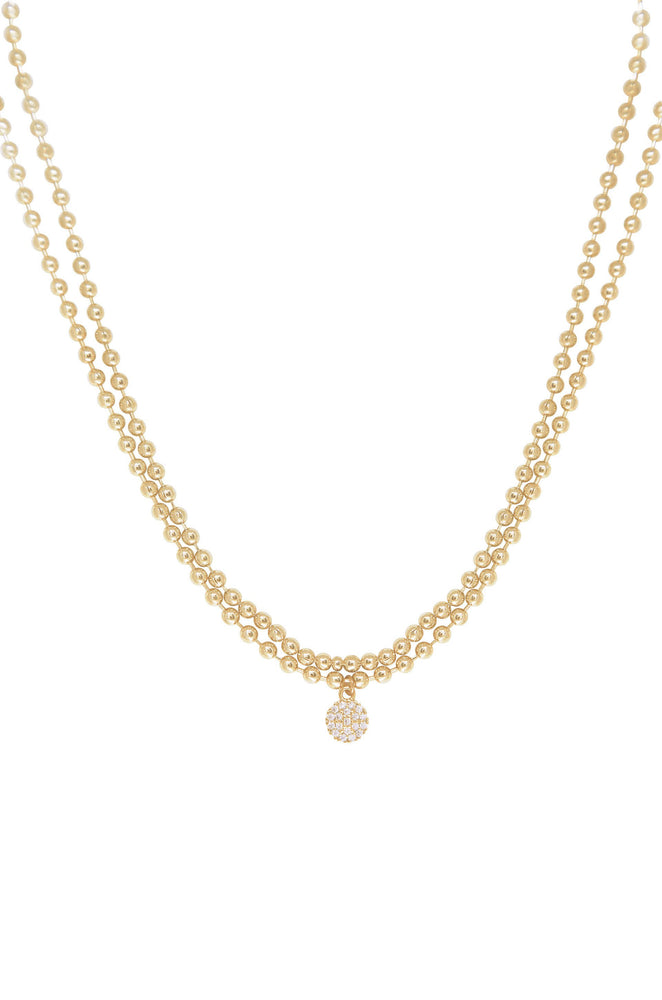 Simply Hepburn Ball Chain 18k Gold Plated Necklace Set on white background
