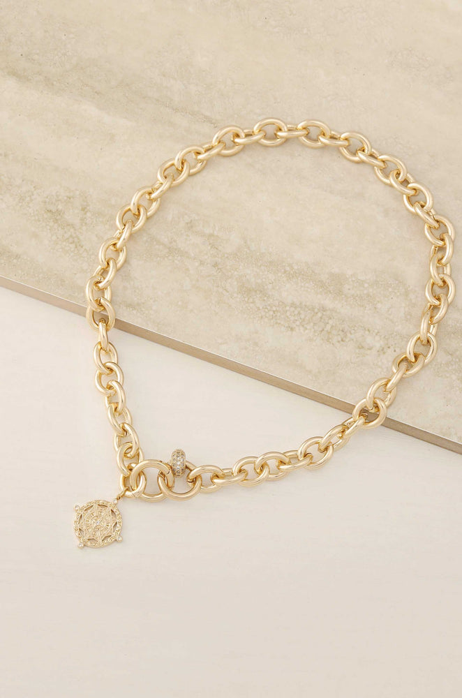 Cruisin' 18k Gold Plated Chain Link & Charm Necklace