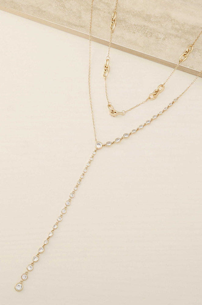 Asymmetrical Crystals Lariat 18k Gold Plated Necklace Set