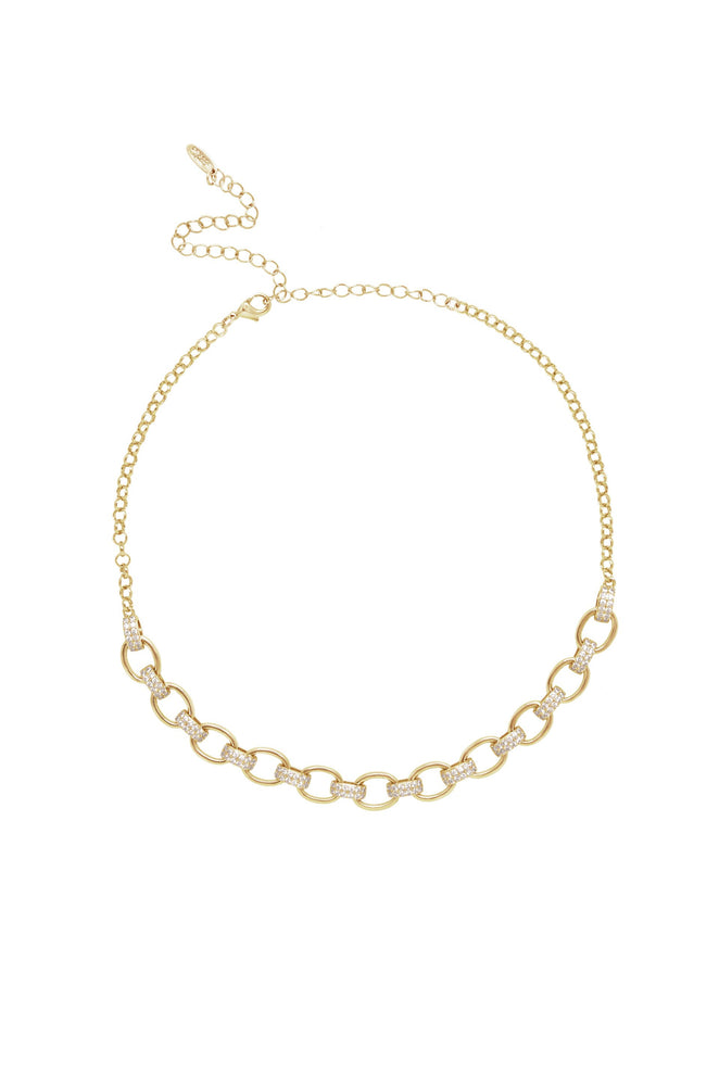 Empowered Crystal & 18k Gold Plated Chain Link Necklace