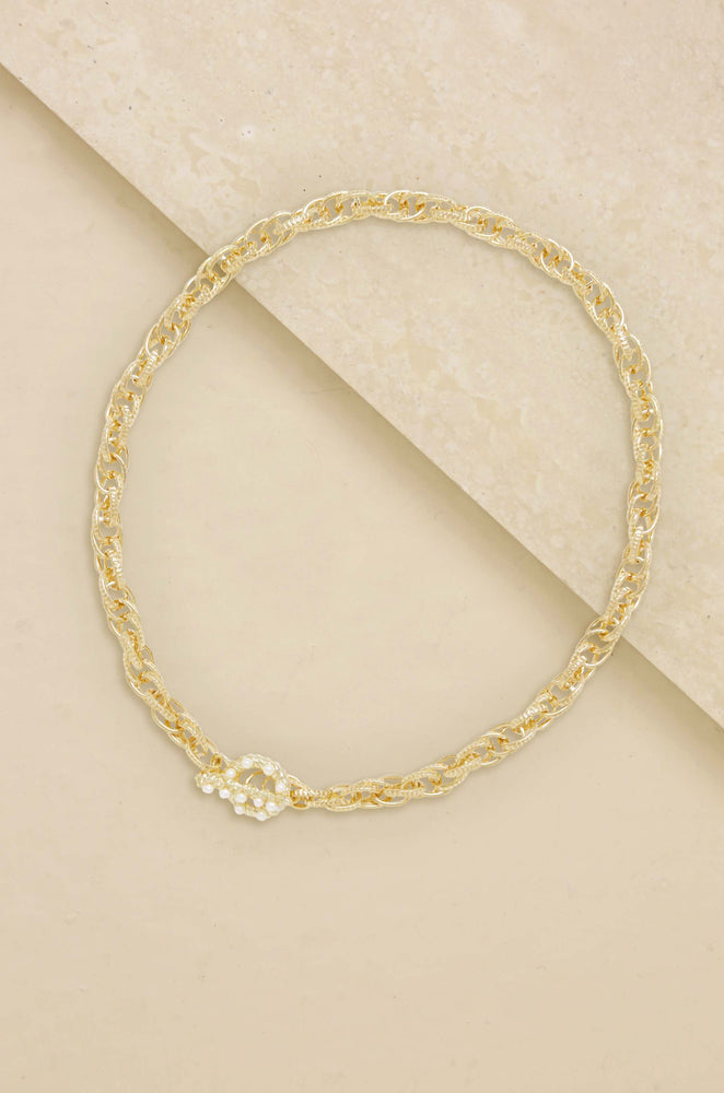 Golden 18k Gold Plated Chain Rope Necklace with Pearl Toggle