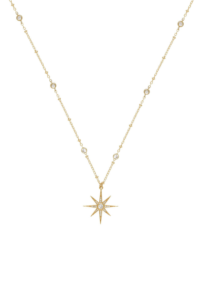 Starburst Pendant 18k Gold Plated Necklace
