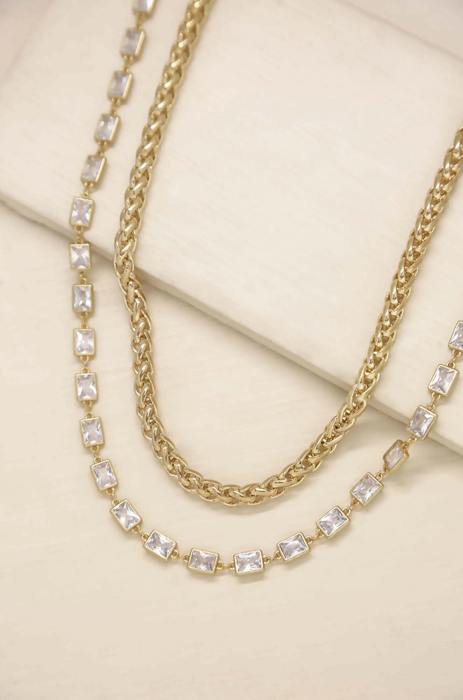 Double The Trouble Crystal & 18k Gold Plated Chain Necklace Set