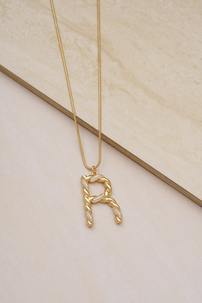 Twisted Crystal Initial 18k Gold Plated Necklace