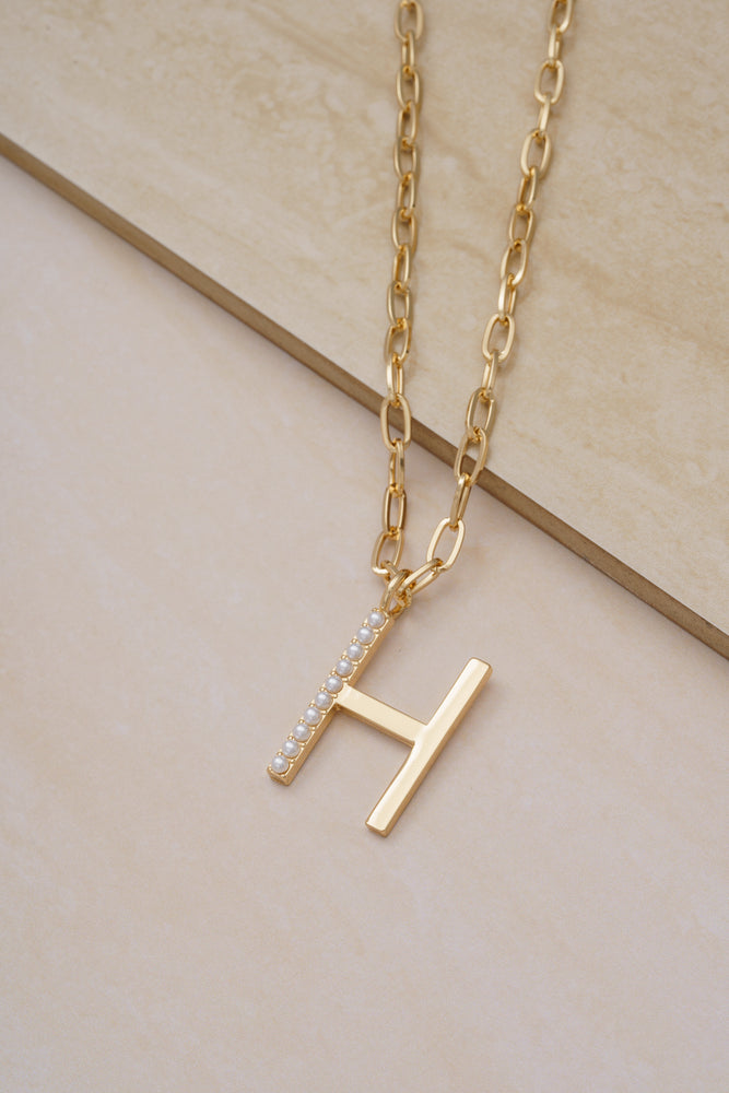 Pearl Initial 18k Gold Plated Necklace