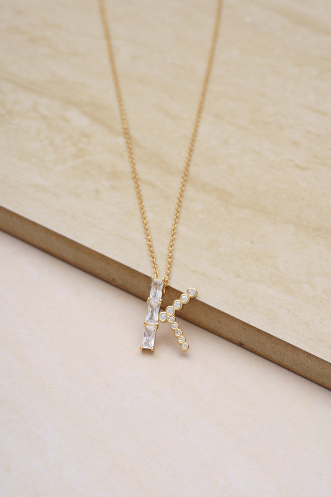 Mixed Crystal Initial 18k Gold Plated Necklace