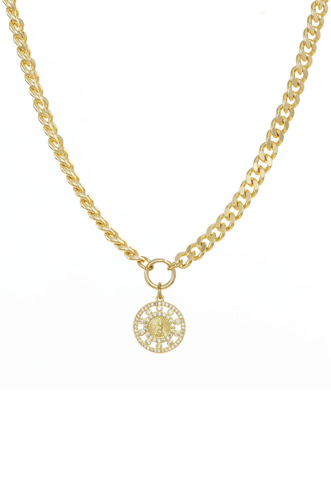 Crystal Pendant 18k Gold Plated Chain Link Necklace