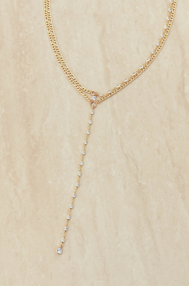 Sweet Song Crystal Lariat 18k Gold Plated Necklace