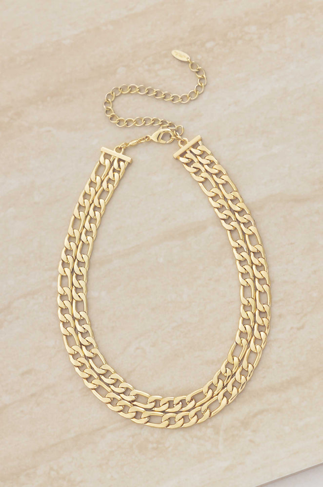 Double Linked 18k Gold Plated Chain Necklace