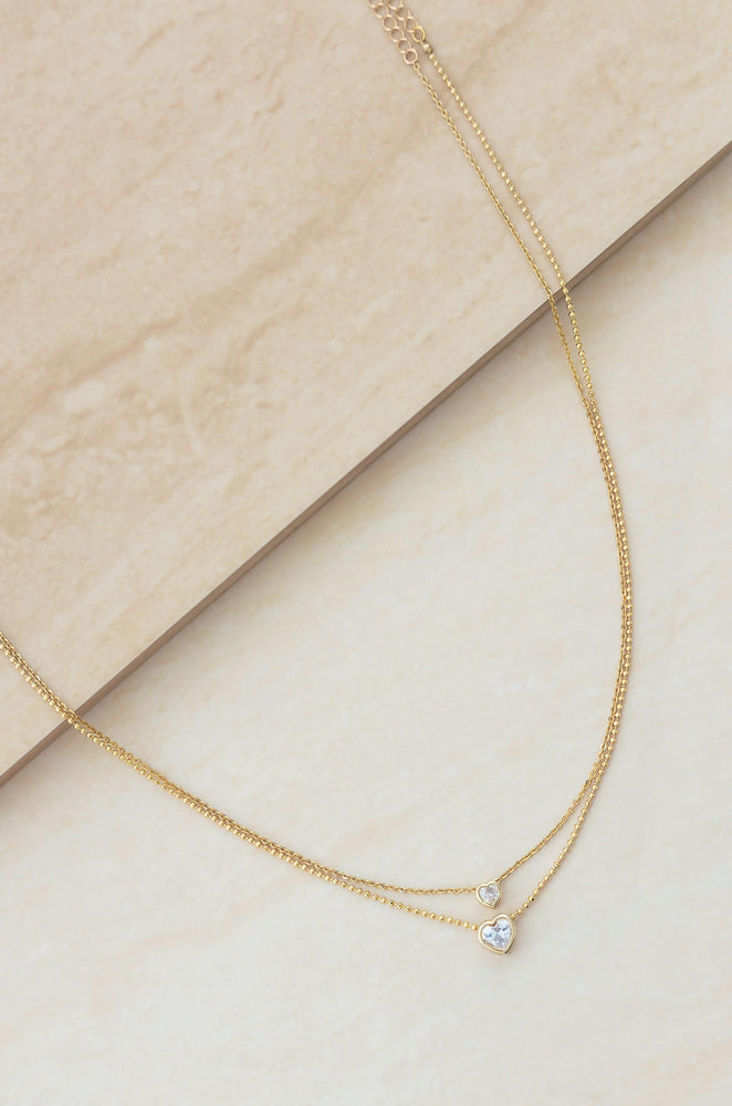 Simple Kind of Life Dainty 18k Gold Plated Chain and Crystal Layered Necklace Set