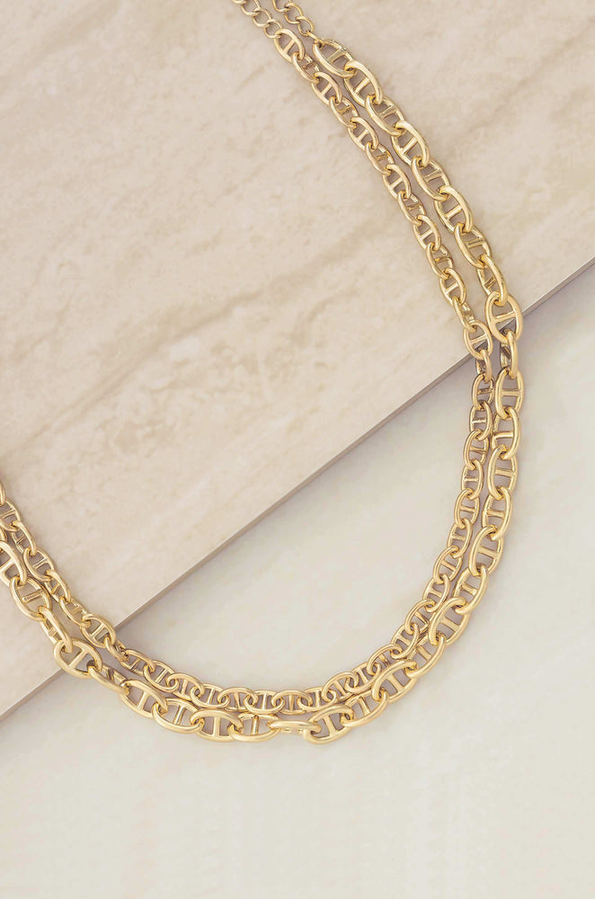 Modern Chains Layered 18k Gold Plated Necklace