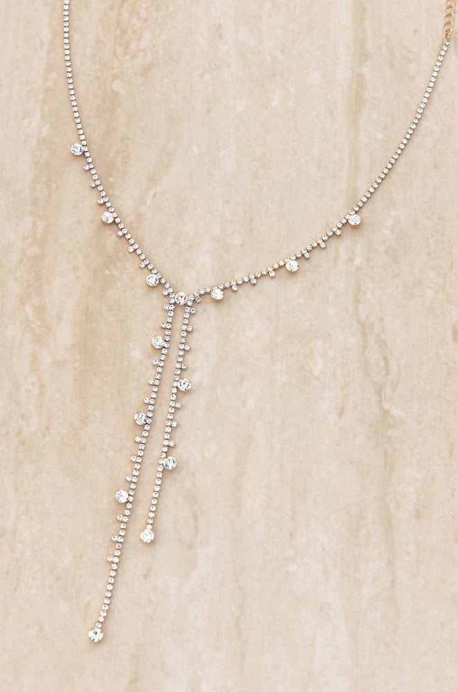 Delicate Crystal 18k Gold Plated Lariat
