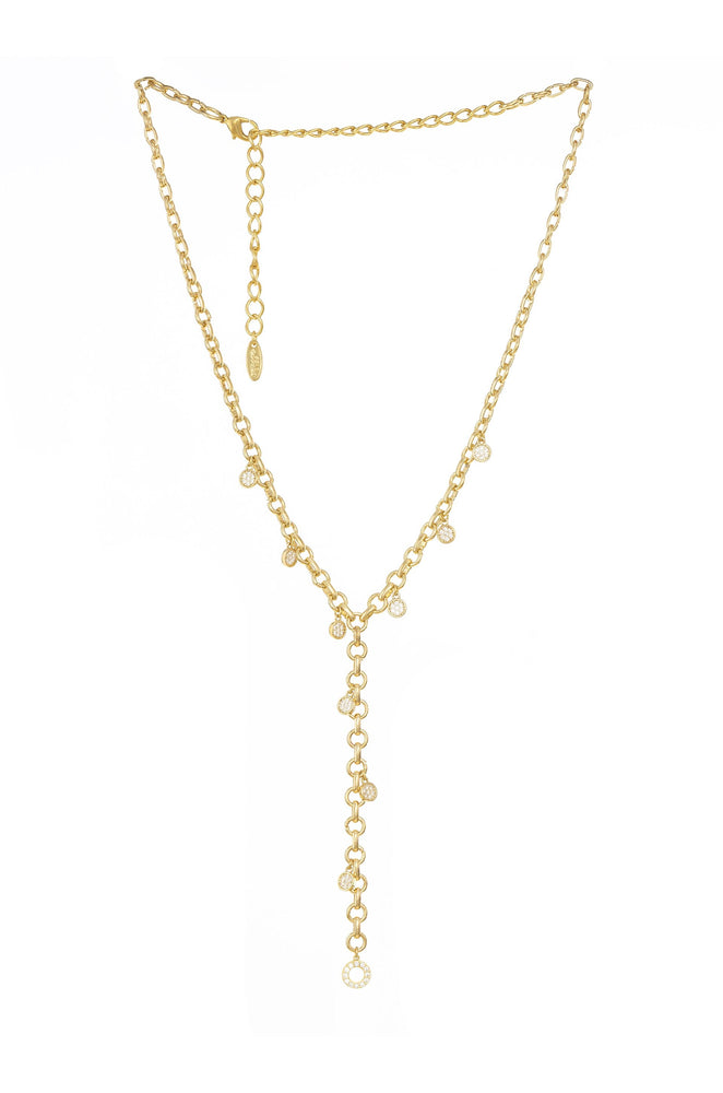 Crystal Sprinkle 18k Gold Plated Chain Lariat