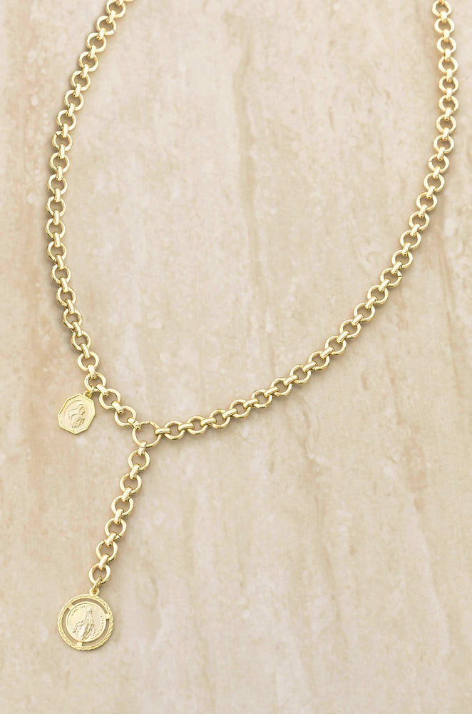 Find Your Way Chain Link and 18k Gold Plated Medallion Lariat