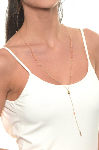 Angel Sigh Lariat in Coral and Gold