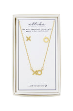 Hugs and Kisses 18k Gold Plated XO Necklace & Earring Stud Boxed Set