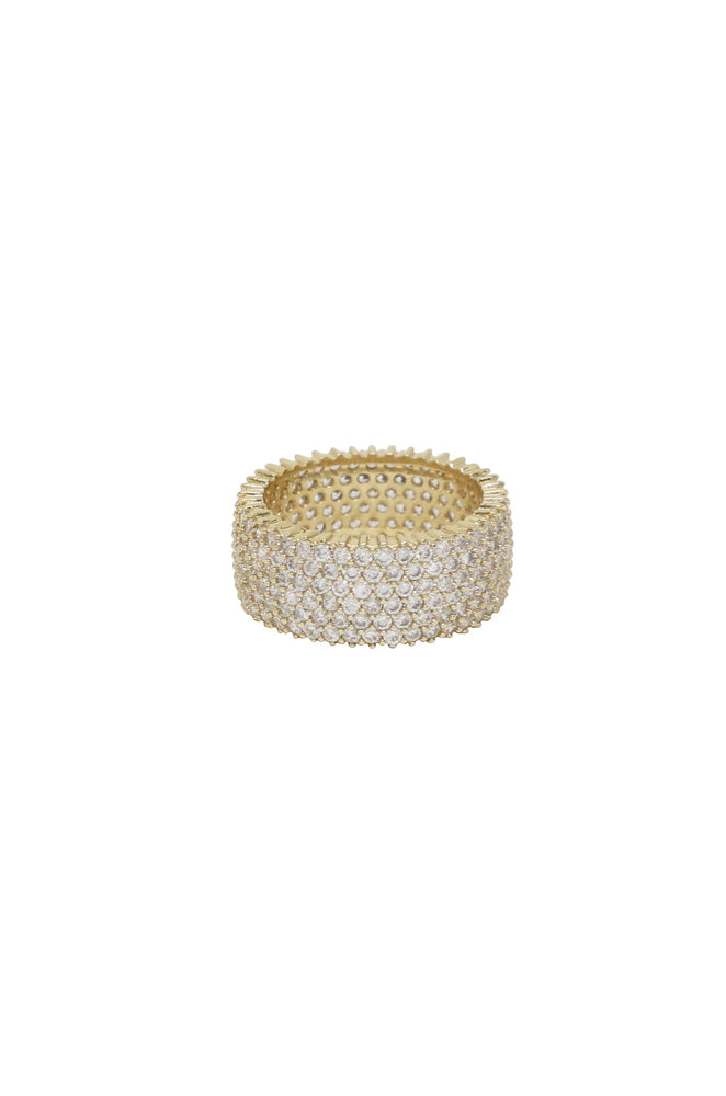 Crystal Thick Band 18k Gold Plated Ring