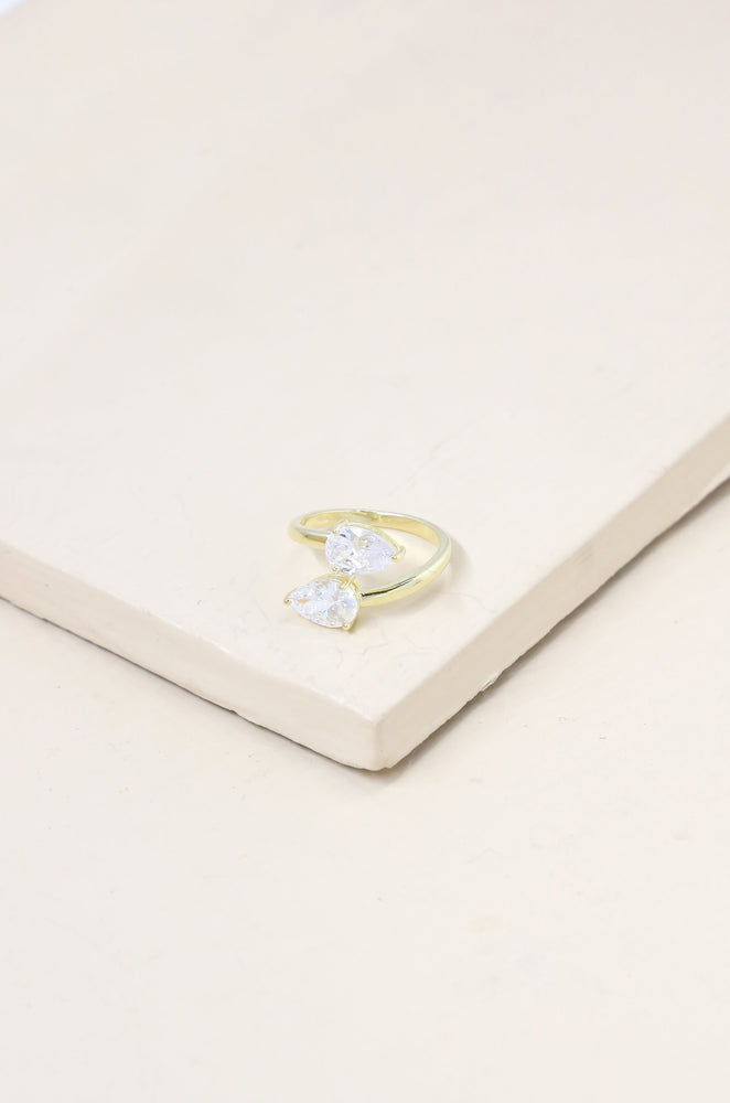 Crystal Teardrop 18k Gold Plated Wrap Ring