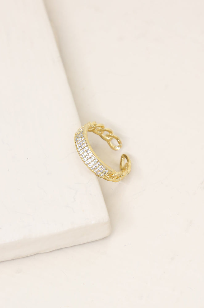 Crystal and 18k Gold Plated Chain Link Ring