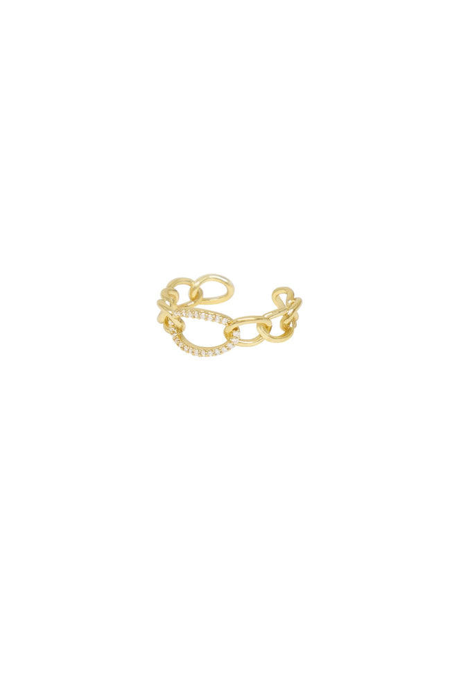 Destiny Crystal & Gold Circle Chain Link Ring