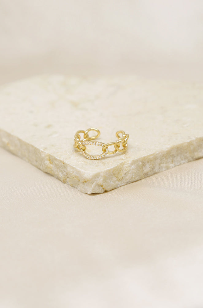 Destiny Crystal and 18k Gold Plated Circle Chain Link Ring