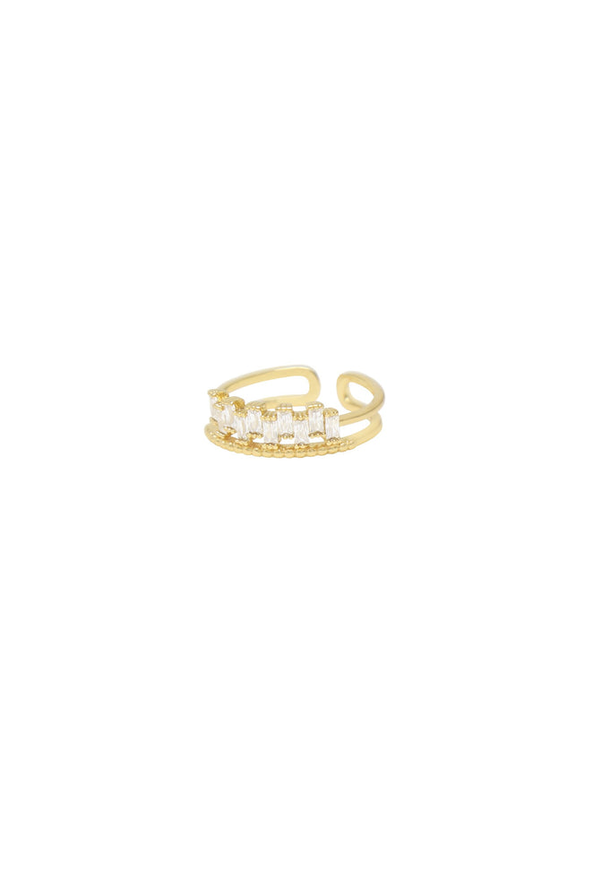 Pre-Layered Rhinestone 18k Gold Plated Stacked Ring