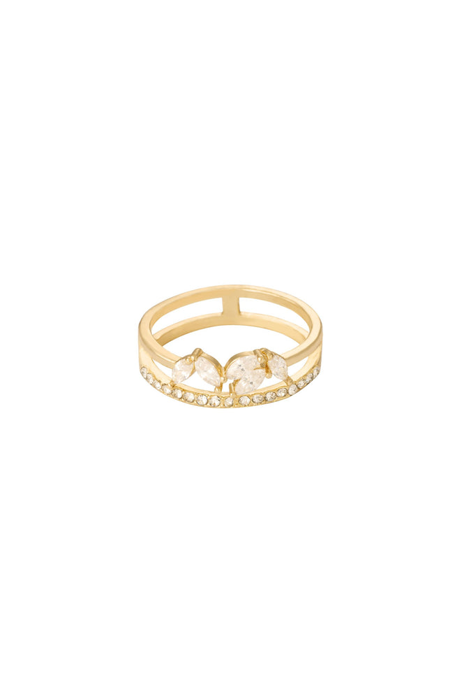 Crystal Double Illusion 18k Gold Plated Ring