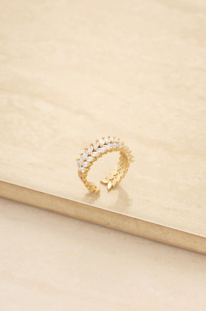 Adjustable Crystal Leaf 18k Gold Plated Ring