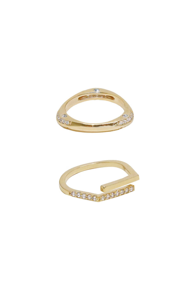 Orbital Crystal 18k Gold Plated Ring Set of 2