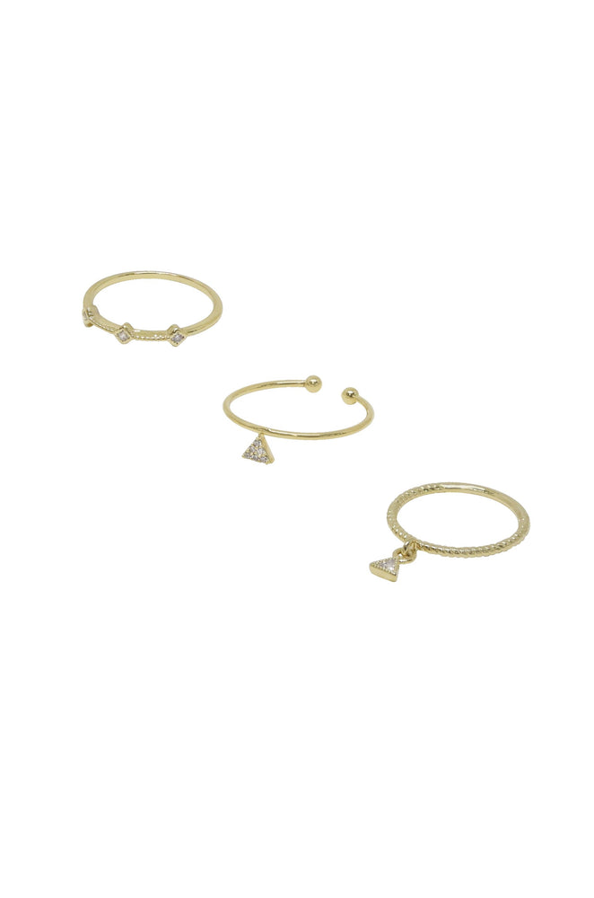 Geometric Dainty 18k Gold Plated Ring Set of 3 with Crystals