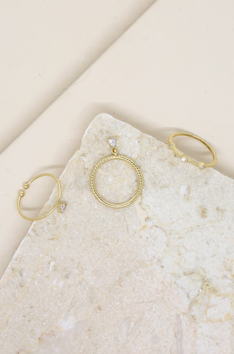 Geometric Dainty Ring Set of 3 in Gold with Crystals