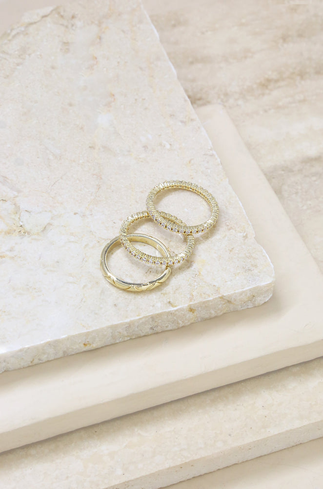 Crystal and 18k Gold Plated Band Ring Set of 3