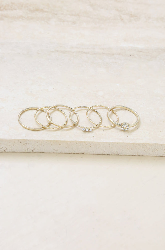 Dainty 18k Gold Plated Stacking Ring Set of 6