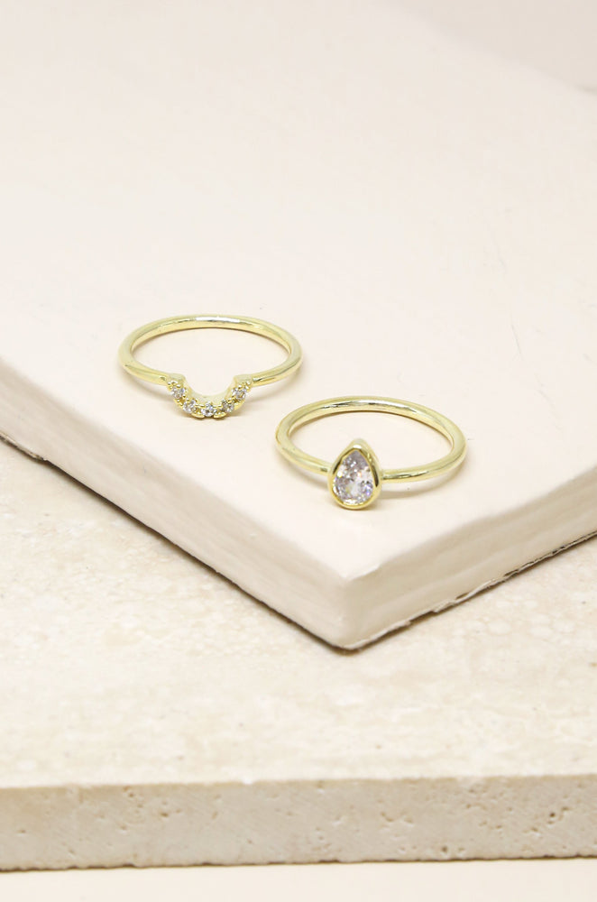 Perfect Fit Crystal 18k Gold Plated Stacking Ring Set