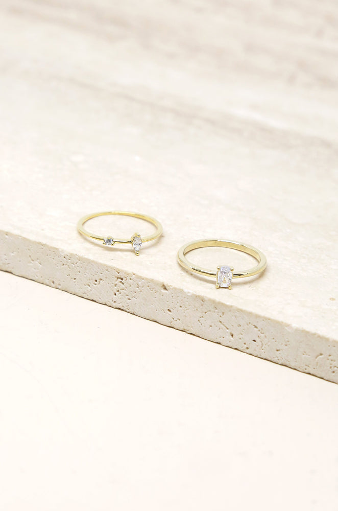 Stackable Crystal and Thin Band 18k Gold Plated Ring Set
