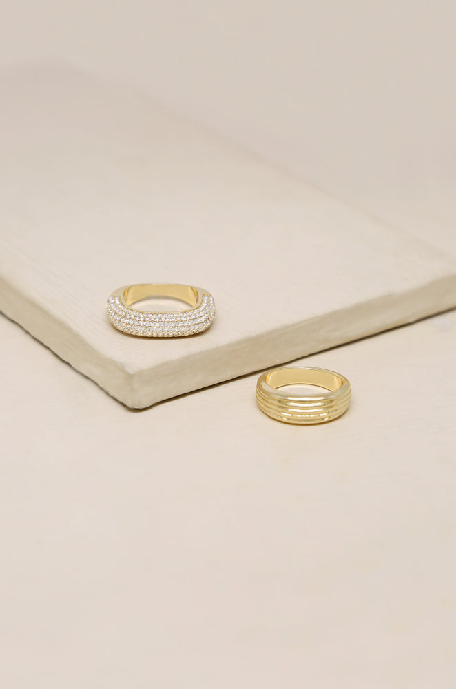 Thick Pave & Textured Ring Band Set