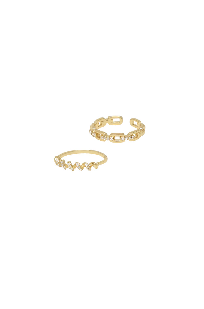 Gold Twisted Link Ring Set