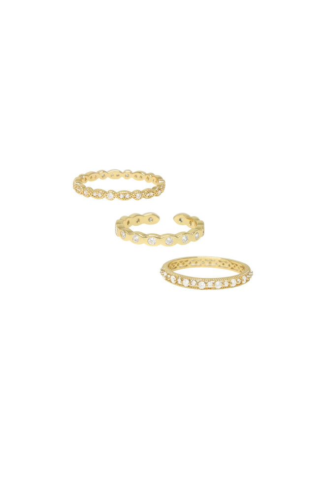 Triple Crystal 18k Gold Plated Ring Set