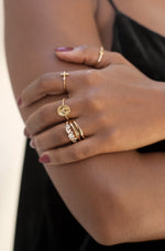 Statement Crystal Cluster 18k Gold Plated Ring