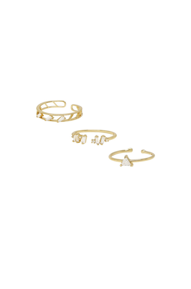 Love Story 18k Gold Plated Crystal Ring Set of 3