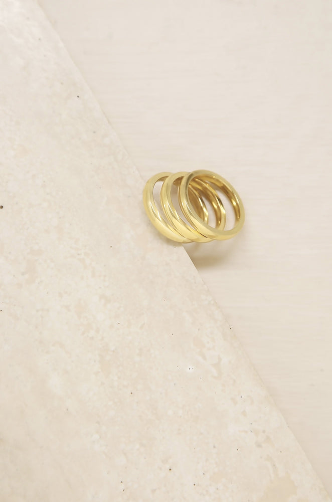Back to Basics 18k Gold Plated Ring Set of 3