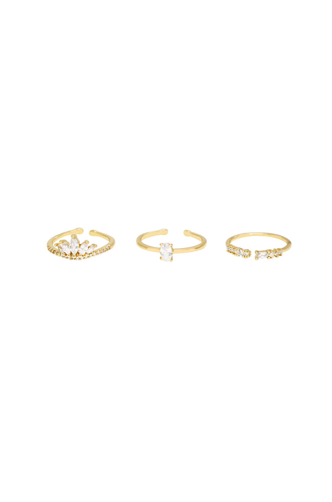 Crystal Majesty 18k Gold Plated Ring Set of 3