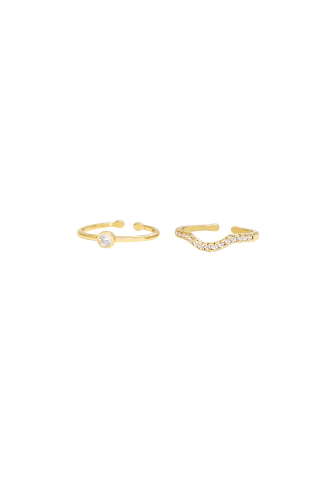 Go Together Crystal and 18k Gold Plated Ring Set on white background